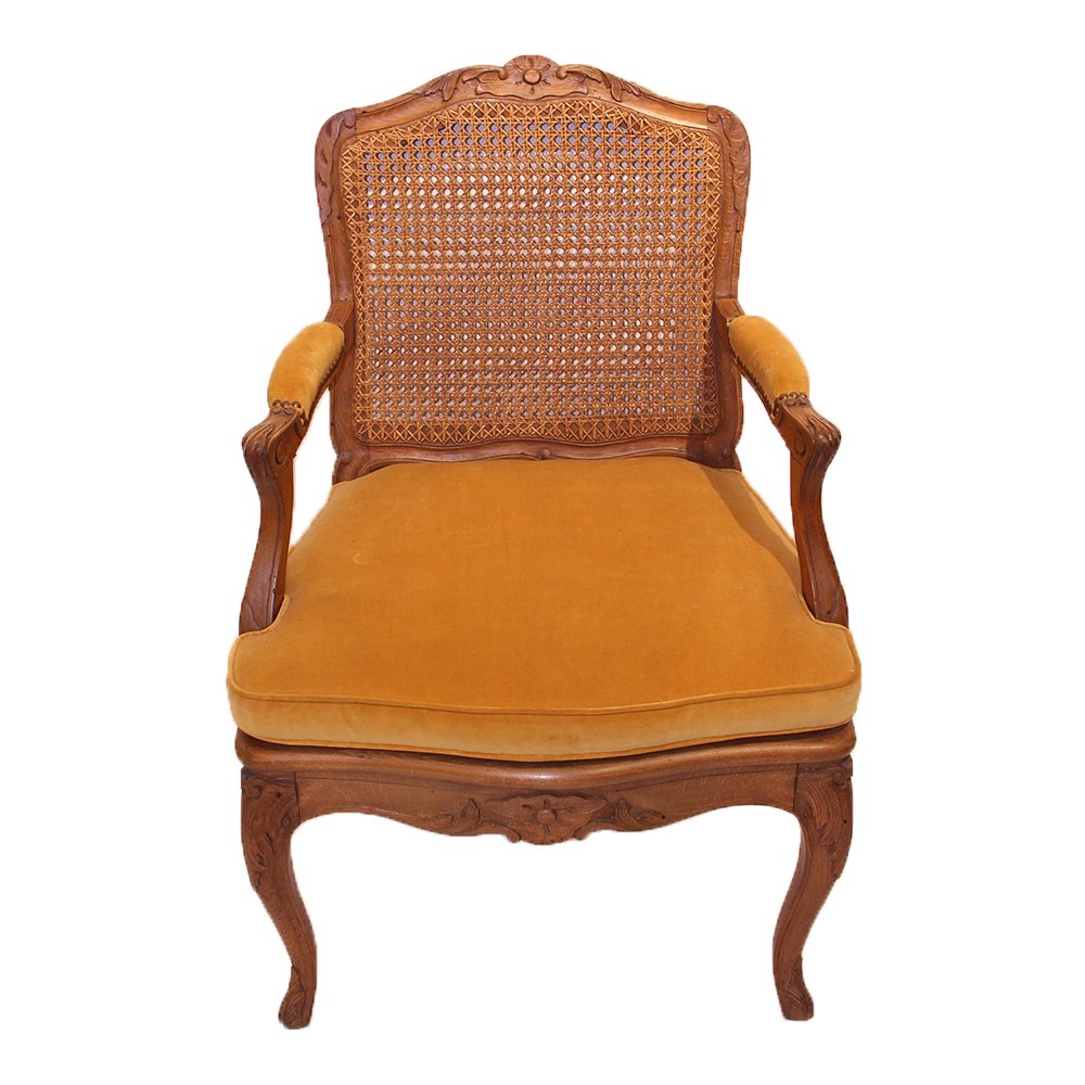 19th Century French Regence Style Fauteuil with Cane Seat and Back
